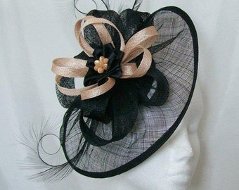 Black Sinamay Saucer Curl Feather and Peach Loop & Pearl Cecily Fascinator Hat - Custom Made to Order