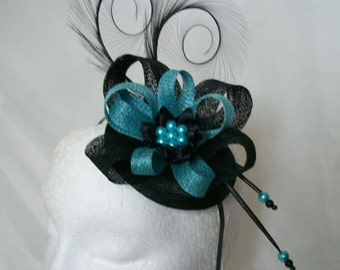Black and Light Turquoise Blue Pheasant Curl Feather Sinamay Loop & Pearl Fascinator Mini Hat - Made To Order for a Wedding or the Derby