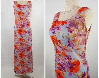 1970s Floral Maxi Dress // 70s Sleeveless Poly Blue Orange purple Hawaiian style - Sheath - Junior Boutique