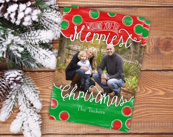 Photo Christmas Card, Christmas photo cards, Printable Christmas Card, Personalized Christmas Card, Red Green Watercolor Polka Dots, Digital