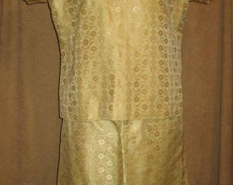 50s Satin Brocade Dress Two Piece Vintage
