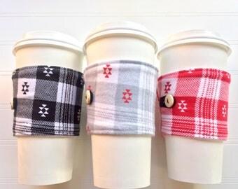 Coffee Cup Cozy, Mug Cozy, Coffee Cup Sleeve, Cup Cozy, Cup Sleeve, Reusable Coffee Sleeve - Aztec Flannel Plaid [110-112]