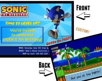 Custom SONIC the Hedgehog Birthday Party invitation double sided - 5x7 Instant Dowload - Custom Personalized invite Sega