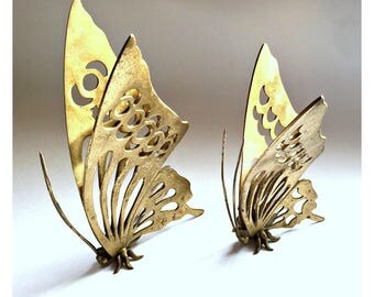 Large Brass Butterflies, Brass Butterfly Set,Standing Brass Butterfly Figures, Butterfly Decor,Vintage Brass Butterflies, Butterfly Figurine