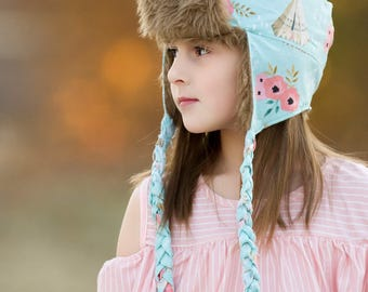 Rocky Mountain Trapper Hat PDF Sewing Pattern, including sizes XS-XL, Child hat pattern, Adult hat pattern,