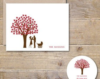 Baby Thank You Cards, New Baby, Baby Shower, Thank You Cards, Baby Announcement, Birth Announcements, Tree, Silhouettes, Baby Carriage