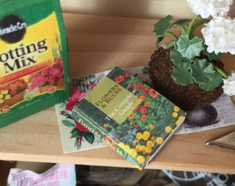 Miniature Flowers and Bulbs Book,  Dollhouse Miniature, 1:12 Scale, Mini Book, Dollhouse Book, Decor, Accessory, Mini Garden Book