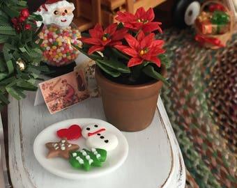 Miniature Poinsettia in Clay Flower Pot, 3 Flower Poinsettia, Dollhouse Miniature, 1:12 Scale, Dollhouse Flowers, Christmas Decor