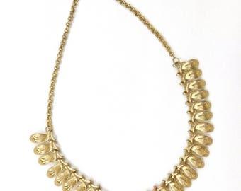 Gold Vintage 60's Petal Choker Necklace