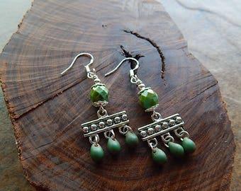 Chandelier earrings - small statement earrings - green and silver - picasso czech glass - fancy dangle earrings - little gypsy earring