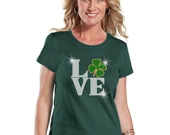 Rhinestone Tshirt Short Sleeve Love Irish Shamrock LAT Ringspun Cotton