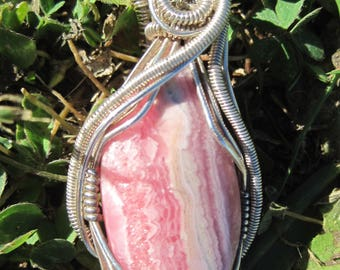Love Rocks/Rhodochrosite and Sterling Silver Wire Wrap Pendant, One of a Kind, Handmade, Art