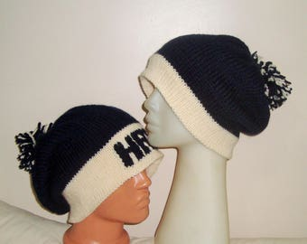 Custom Knit Hat Name for Adult Valentines Day Outfit Men Women Gift for Him, for Her, Valentine's Day Gift navy ivory hand knit slouchy hat
