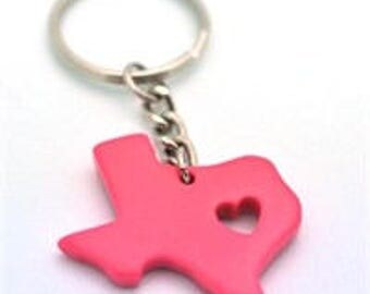 Pink My Heart is in Texas Key Chain  State Love