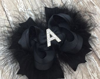 Solid Initial Bow, Choose your own Color, Personalized Bow, Stacked Boutique Bows, Marabou Boutiqeu Bows, Pick Colors, Hair Clips