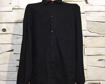 Vintage German European Work jacket HBT Dyed Black (os-ewj-18)