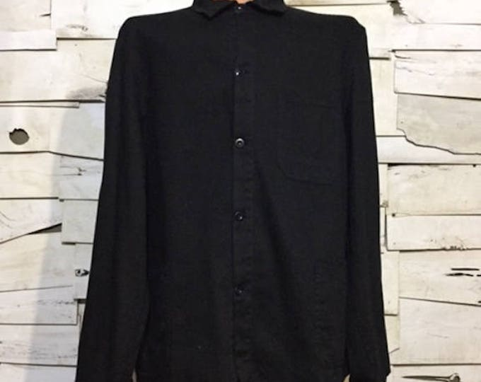 Vintage German European Work jacket HBT Dyed Black (os-ewj-18)