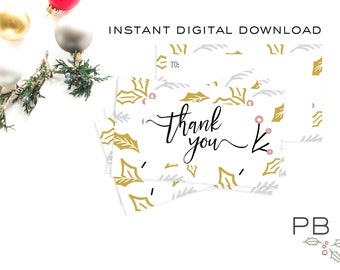 Holiday Thank You Gift Tag|  christmas, gold, thank you, gift card, printable, digital, pink