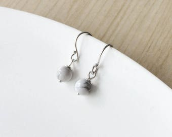 Marble earrings - sterling silver and howlite earrings - bohochic - delicate earrings - bohemian jewelry - marble - gemstone - drop