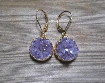 Purple Amethyst Druzy Earrings, February Birthstone, Gold Filled, Raw Amethyst, One Of A Kind