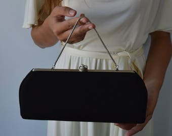Vintage Black Evening Clutch, 1950s Evening Clutch, Formal Black Clutch, Wedding, 1950s Clutch, Vintage Clutch, Black Clutch