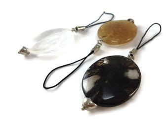 Large Bag Charm Sterling Silver Glass Crystal Clear Black or Champaign, Faceted Oval Bead Purse Charms for Handbags Handmade in Hamilton