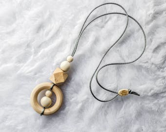 Organic Nursing Necklace - Baby Wearing Jewelry  - Teething Necklace - Wooden Teething Necklace - Mothers Necklace - Baby Necklace - Gift