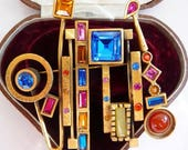 vintage Patricia Locke pin brooch | geometric modernism jewelry | abstract modernist jewelry | multicolor | designer couture