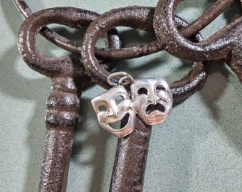 Comedy Tragedy Faces Happy Sad Face Masks Theater Mardi Gras Masks Sterling Silver Necklace Pendant Happy Face Drama Facial Expressions