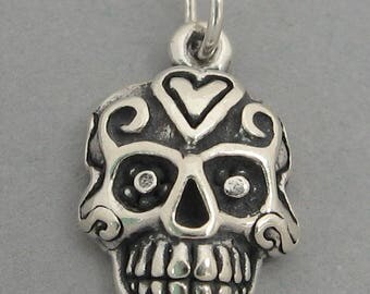 SUGAR SKULL Sterling 925 Charm Day of the Dead Halloween 4784