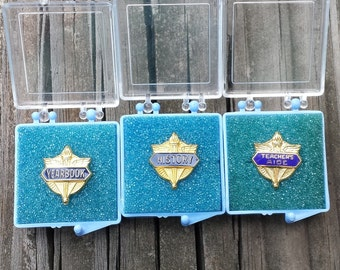 School Pins, Collection of 3, History, Yearbook, Teacher's Aide, Pinbacks, Goldtone, Blue Enamel, In Cases