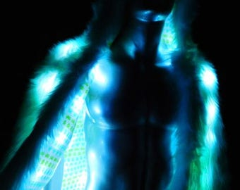Faux Fur Light Up Coat - Aqua Faux Fur Coat  Light Up Coat 80 White LEDs -Video game cotton print Interior-LED Fur Coat  Ready to Ship