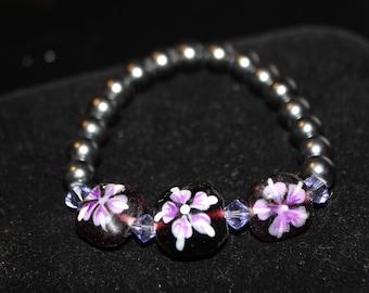 Cute Purple Flower Bead Bracelet