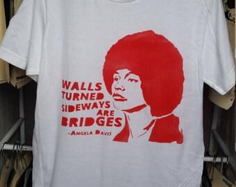 SALE unisex Medium Angela Davis quote t shirt tshirt feminist art feminism street art by Rainbow Alternative power to the people