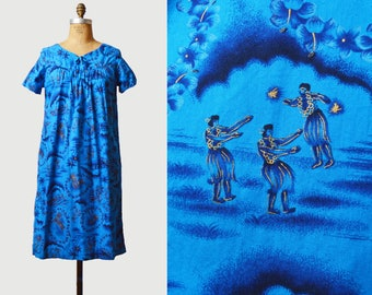 Vintage 60s Hawaiian Mini Dress Hippie Floral Figural Print / 1960s Tropical Bohemian Short Sleeve Blue Gold Medium m