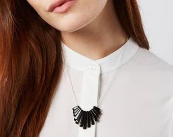 Black and White Statement Necklace   Monochrome Necklace   Silk Cord Necklace   Modern Bib Necklace   Onyx & Silk   Semi Precious stones