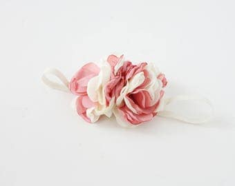 Pink Alike  - ivory cream pink blush singed satin rose flower and chiffon rosette headband bow