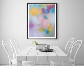 Soft pastels Pink Abstract art, wall decor pink turquoise magenta, Boho feminine art, Nursery decor, Baby girl room art,2018 interior trends