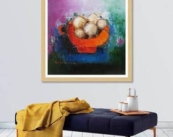 "Modern still life, oil on canvas original still painting 12""x12"", contemporary fruit art, modern kitchen wall art, dining room modern decor"