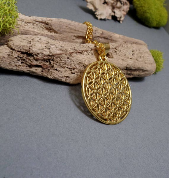 Flower of Life Necklace - Sacred Geometry Necklace - Spiritual - Free US Shipping  - Gold Necklace