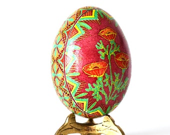 Red Poppies Ukrainian Easter egg with flowers beautiful crafted gift for mom not too expensive super classy send her this for birthday
