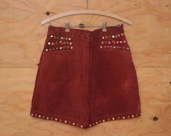 Vintage 80's Brick Red Suede High Waist High Rise Killer Shorts Bedazzled Stud Rhinestone Detail SZ Small/Medium