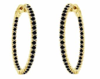 """3.00 Carat Inside Out Black Diamond Hoop Earrings 1.25"""" inch 14K Yellow Gold"""