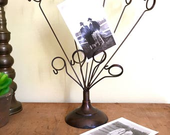 Bronze Metal Photo Holder, Photo or Post Card Display Stand, Holder with Loops