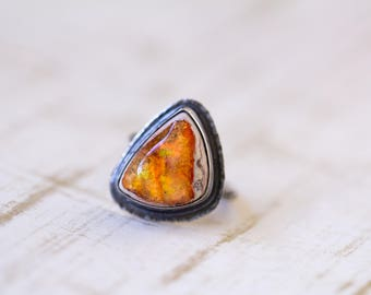 Mexican Raw Fire Opal Ring, Sterling Silver Ring - Boulder Opal Ring - Collector Stone - Keeper of Secrets - Size 8, Size 8.25