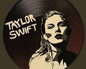 Taylor Swift Reputation Spray Paint Art on Vinyl Record