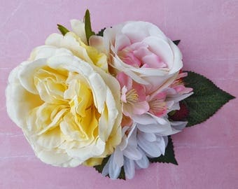 Unique cream and yellow English rose with pink rose, daisy, cherry blossoms and berries vintage wedding bridal hairflower hair flower 50s