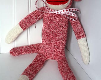 Red Valentine Sock Monkey - Traditional Rockford Red Heel Socks