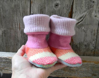 Upcycled 100% Wool Baby Booties High Top Boots Baby Girl Booties Upcycled Wool Booties 3-8 Months