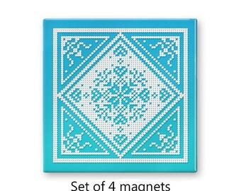Christmas Snowflake magnets, Nordic magnets, Scandinavian refrigerator magnets, fridge magnet set, set of 4 decorative magnets, aqua
